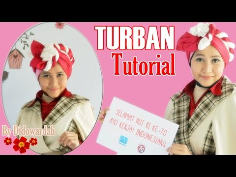 Tutorial Hijab Turban Segi Empat Pesta Edisi HUT RI-70 by Didowardah #59