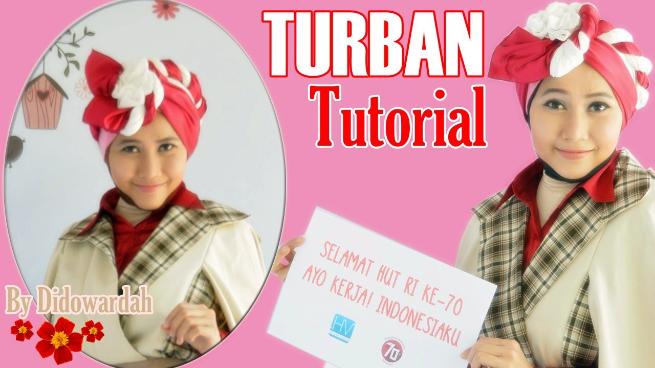 Tutorial Hijab Turban Segi Empat Pesta Edisi HUT RI 70 By