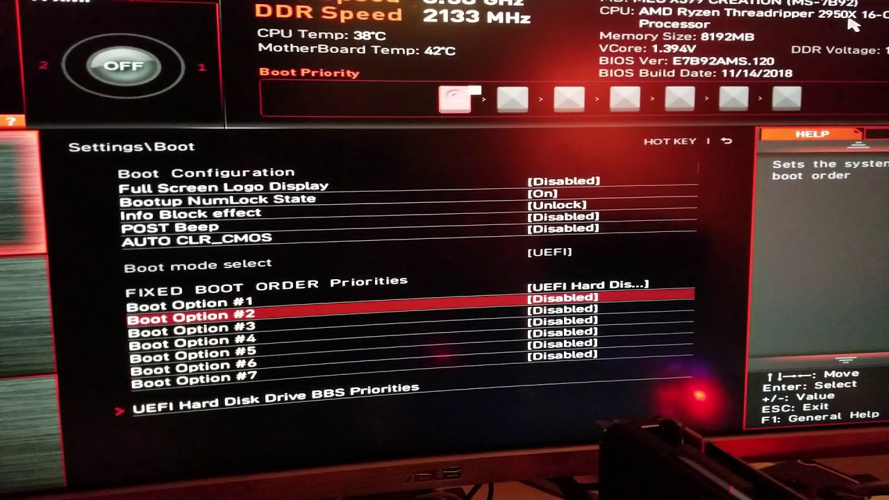MSI X399 MEG Creation very slow and long boot
