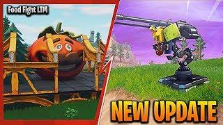 NEW FORTNITE UPDATE! NEW 'FOOD FIGHT LTM' GAMEPLAY! NEW FORTNITE 'MOUNTED TURRET' GAMEPLAY UPDATE!