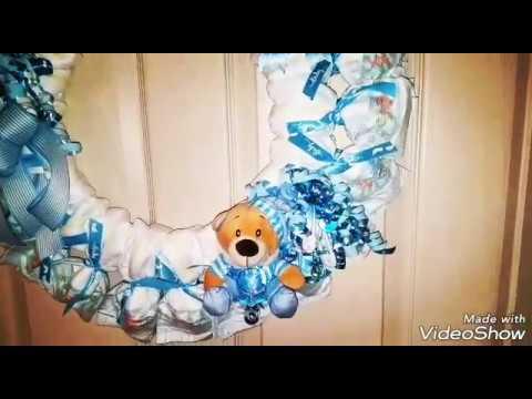 How to make a diaper wreath tutorial