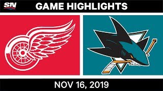 NHL Highlights | Red Wings vs Sharks - Nov. 16, 2019