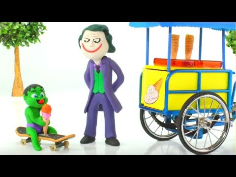 Baby Hulk Buys Ice Creams w/ Joker Play Doh Cartoons Stop Motion Animations