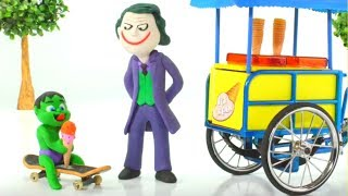 Baby Hulk Buys Ice Creams w/ Joker Play Doh Cartoons Stop Motion Animations thumbnail