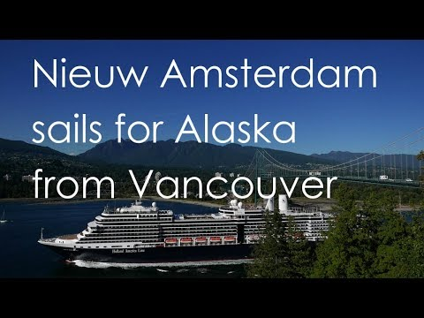 """Holland America """"Nieuw Amsterdam"""" sails for Alaska from Vancouver under the Lions Gate Bridge"""