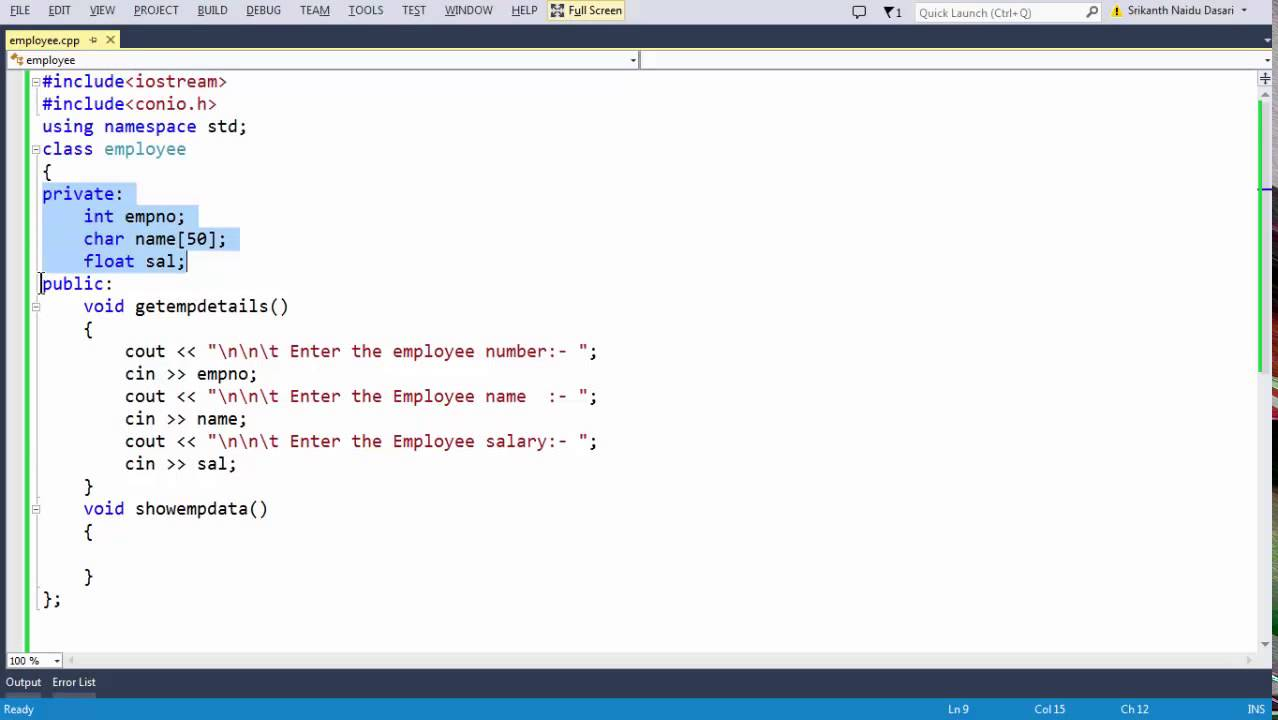 3 Class and Object in c++ defining an employee class with data members and  member functions
