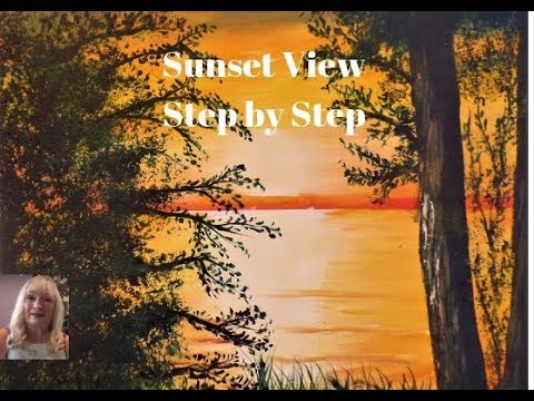 How to paint a SUNSET View with Trees part 2 Easy Acrylic Painting for Beginners Step by Step