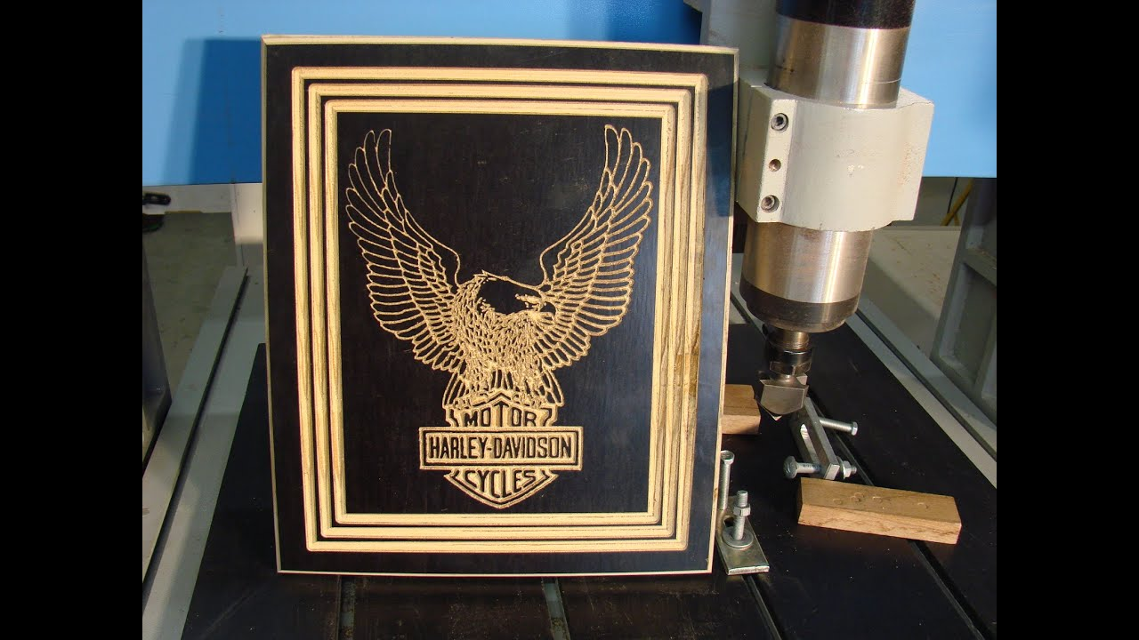 68 Cnc Router Carving A Usa Harley Davidson Logo Youtube