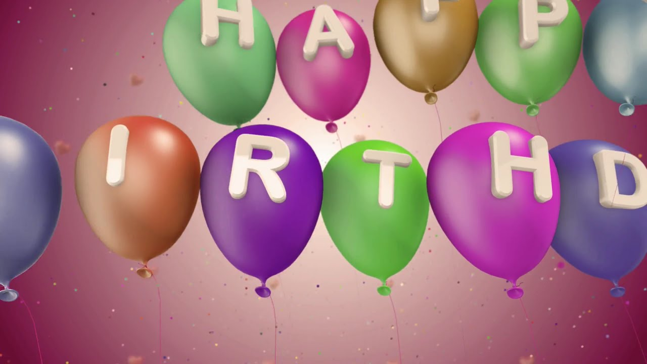 Happy Birthday Greetings 3d Animation With Balloons Motion Graphics