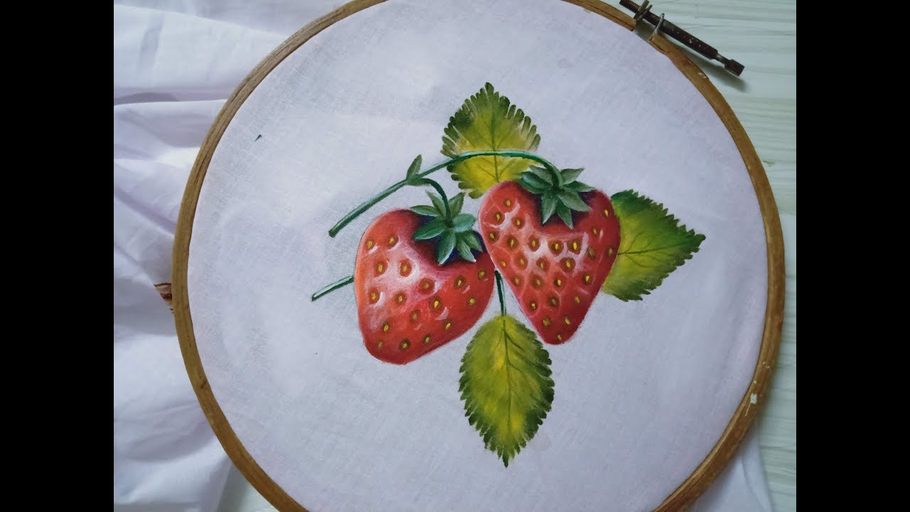 Fabric Painting On Clothes Easy Fabric Painting Techniques How To Paint Strawberries Youtube