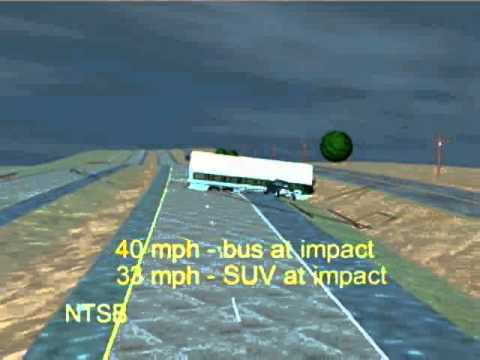 Motorcoach Median Crossover and Collision With Sport Utility Vehicle - Hewitt Collision