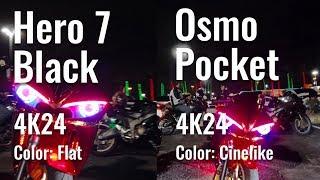 Osmo Pocket vs Hero 7 Black (Low Light Test On Motorcycles)
