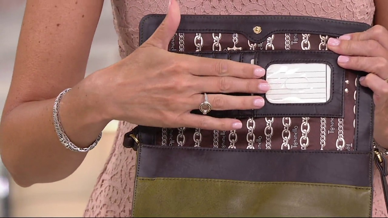 Tignanello Vintage Leather Crossbody Handbag Carson On Qvc