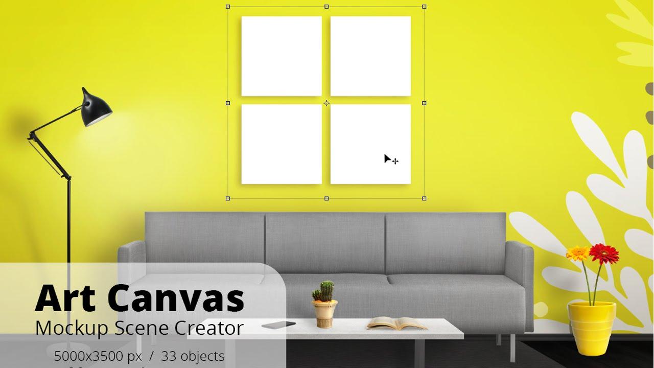 Art Canvas Mockup Scene Creator Overview - YouTube