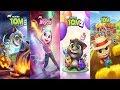 Talking Tom Gold Run - My Talking Tom 2 vs My Talking Tom Halloween   My Talking Angela Gameplay