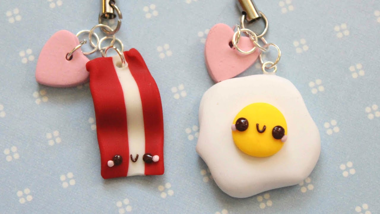 polymer clay tutorial egg and bacon friendship charms