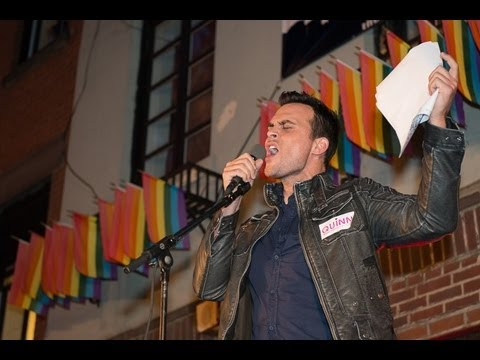 "Cheyenne Jackson Sings ""Empire State of Mind"" at Stonewall for Chris Quinn"