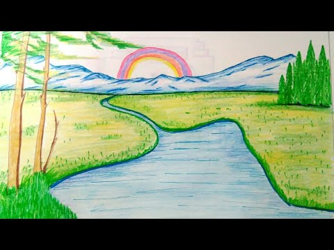 How to draw nature scenery nature drawings for kids beautiful drawing nature