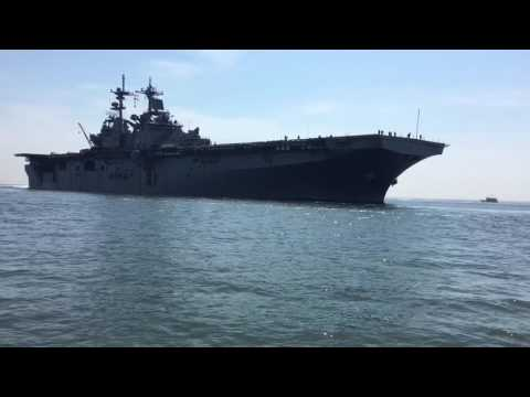 Close call with a navy ship
