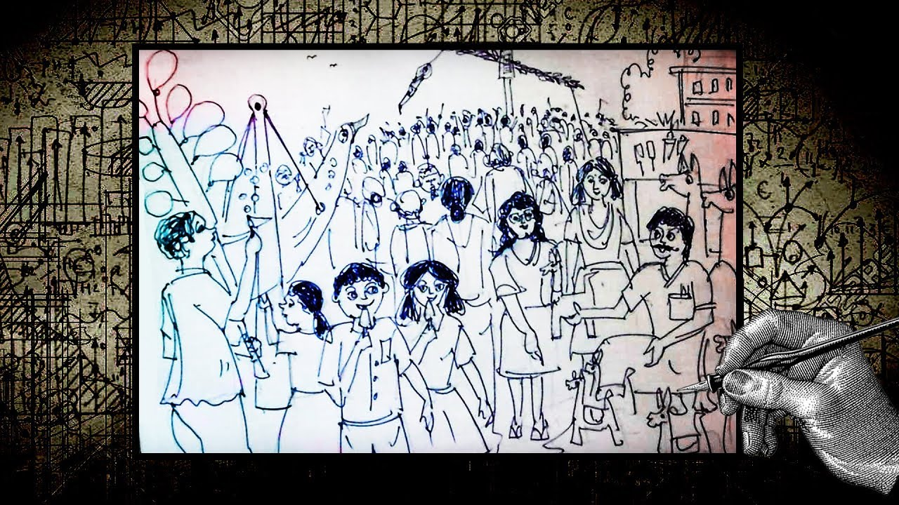 How To Draw Scenery Of Village Fair Village Fair With Ballpoint Pen Draw Charak Puja
