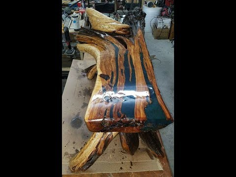 juniper coffee table with epoxy inlay