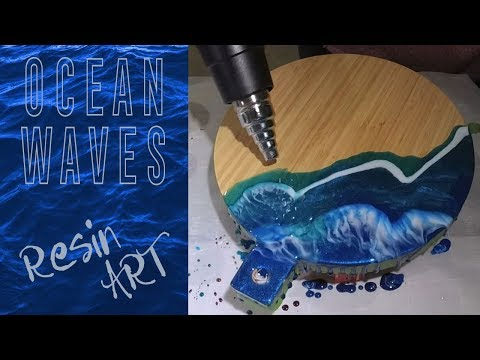 Ocean Waves - Resin Art on a Serving Tray / Cheese Board