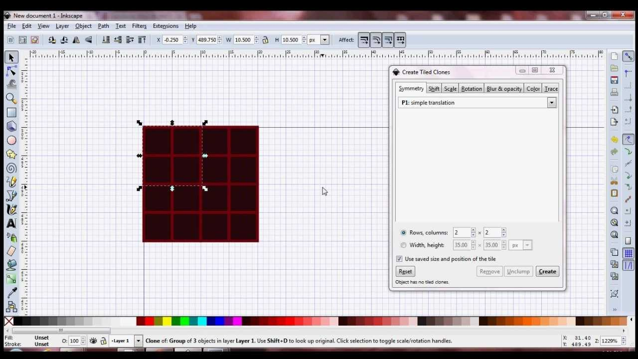 Inkscape Basics Creating Simple Tiled Clones YouTube - Create tiled image