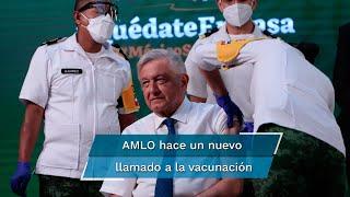 El presidente López Obrador manifestó que accedió a vacunarse en su conferencia de prensa para promover la vacunación contra la pandemia de Covid-19 entre los adultos mayores