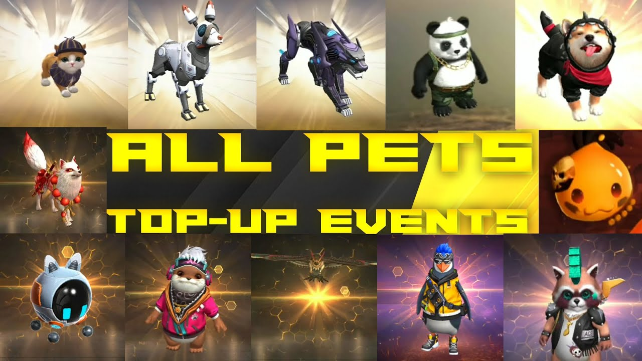 All Pets Top-up Events In Free Fire || Free Fire All Pets || Tsk Battlegrounds