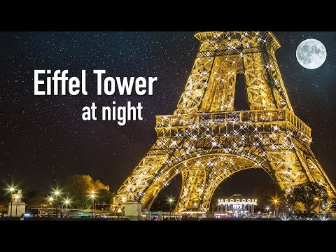 EIFFEL TOWER AT NIGHT, Paris France (Eiffel Tower sparkling & twinkling at night in Paris)