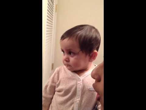 Baby cries hearing mum's scary sound