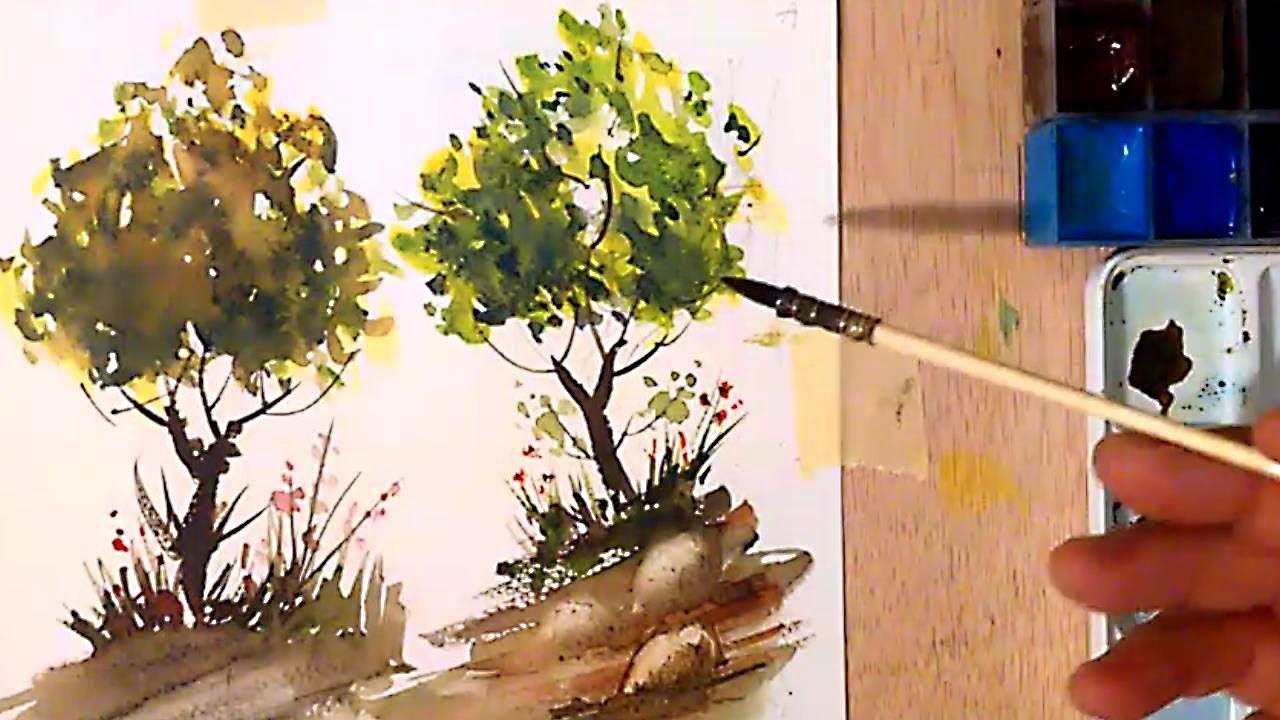 Acuarela. Como pintar Arboles - Watercolor. Trees - YouTube