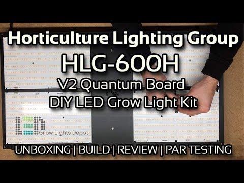 horticulture lighting group hlg 600h v2 unboxing build review par testing