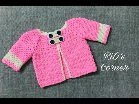[Crochet] Easy Baby Cardigan | Móc áo Khoác Cho Bé (kiểu 1)