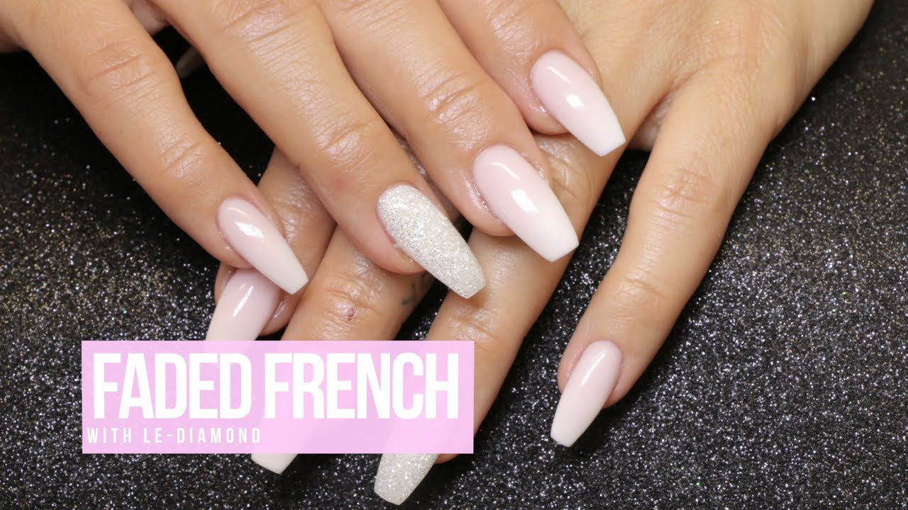 Acrylic Nail Design: Faded French w. LE-Diamond - YouTube
