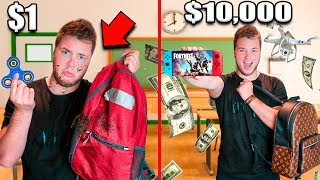 $1 Vs $10,000 BACK TO SCHOOL ITEMS CHALLENGE!! Box Fort YouTube School Part 1: Fortnite, Toys  📦