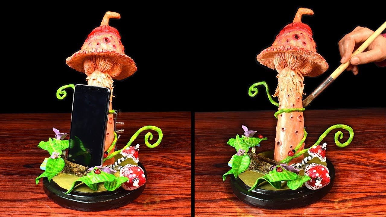 Diy Mushroom Phone Holder Phone Stand Light Paper Clay