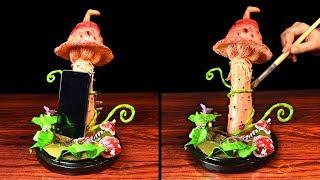 DIY Mushroom Phone Holder | Phone Stand Light | Paper Clay Tutorial