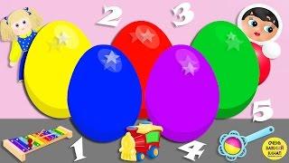 Яйцо с сюрпризом. Учим цифры. Счёт до 5 Развивающий мультик про цветные яйца с сюрпризами
