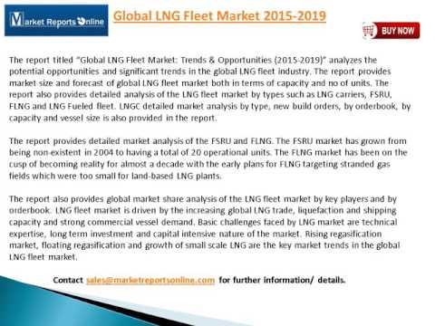 MarketReportsOnline: Global LNG Fleet Market Trends and Opportunities 2015 2019