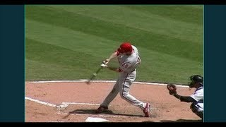 Chase Utley Slow Motion Baseball Swing - Hitting Mechanics Instruction Texas Rangers MLB