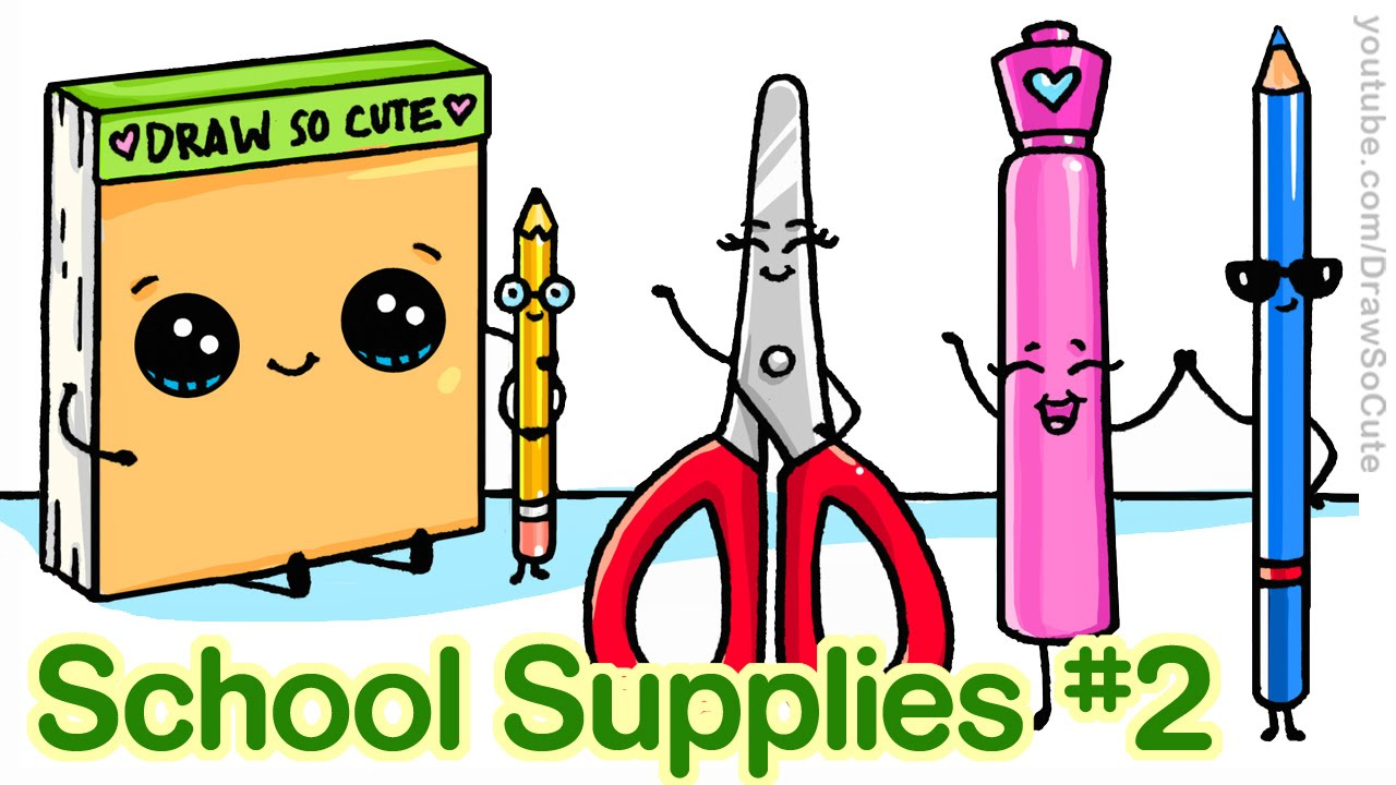 How To Draw Back School Supplies 2 Cute And Easy Step By You
