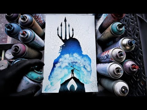 Aquaman GLOW IN THE DARK Spray Paint Art By Skech