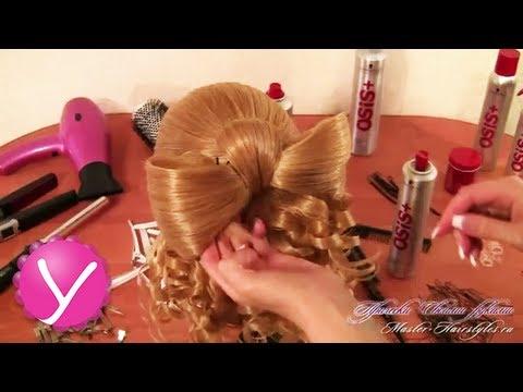 Прическа Мальвина с бантом из волос и локонами