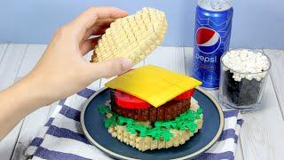 LEGO SPONGEBOB : Making Krabby Patty In Krusty Krab IRL  Stop Motion Animation ASMR