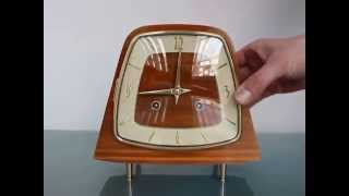 Hermle 1950s Germany Vintage Mantel Clock 3 Bar Chime Shelf Wood