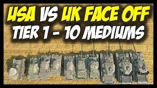 ► World of Tanks: USA vs British (UK) Medium Tanks - Tier 1 to Tier 10 - Face Off #11