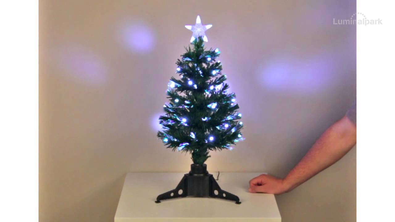 Sapin artificiel vert en fibre optique 65 cm led blanc froid code 33740 youtube - Mini sapin de noel artificiel ...
