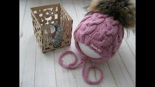 Детская шапочка для новорожденного спицами на 0-3 месяца. Подробный МК.