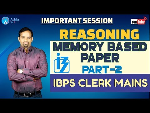 Memory Based Paper Of IBPS Clerk Mains By Sachin Sir (Part-2) | Reasoning